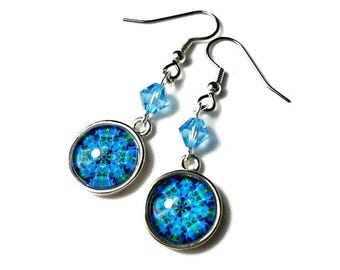 Turquoise Aqua Blue Dangle Earrings, Mandala Earrings, Kaleidoscope, Mandala Jewelry