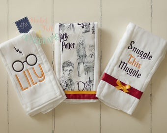 Custom Personalized Harry Potter Burp Cloth Set - Set of 3