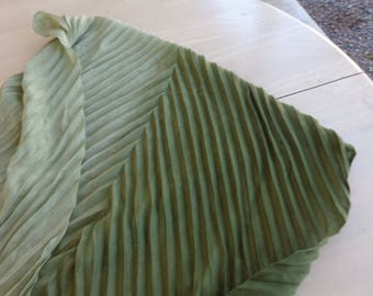 Long Olive Scarf -  Green Light to Dark Shawl or Large Scarf with Fringe on ends and slightly pleated design .  Soft - 26 x 72 inches
