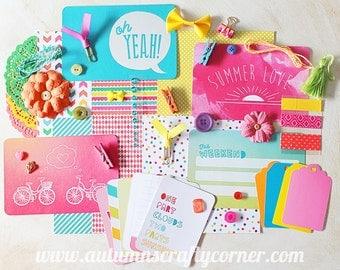 Summer - Brights -  Inspirational - Cardmaking - Planner Kit - Journal Kit - Scrapbook Page Embellishment Kit - Journaling Cards