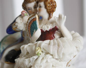 Lovely Couple- porcelain lace dress - like Dresden