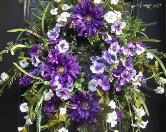 Spring Door Wreath, Spring Wreath, Door Wreath, Summer Wreaths,Etsy Wreaths,  Purple and White Wreaths, Pansy Wreath
