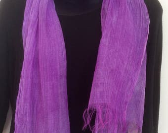 PURPLE WRAP,  LIGHTWEIGHT, Summer scarf, Violet, Bright breezy  wrap, Hand dyed, silk and linen  scarf,