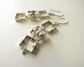 Earrings: Sterling Silver Square Links with Angelite by Sarah Wiley Jewelry 160021SL
