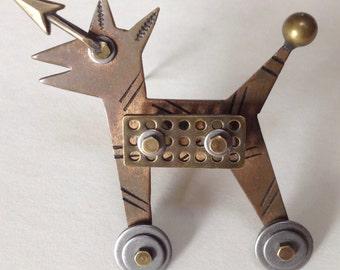 Thomas Mann Figural Dog Brooch Pin - Techno Romantic Kinetic – 1980s Studio Artist Jewelry