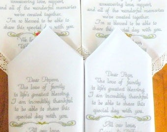 Grandparents Wedding Gifts Embroidered Wedding Handkerchiefs Grandma Grandpa Wedding Gifts Embroidered Wedding Handkerchiefs Wedding Gifts