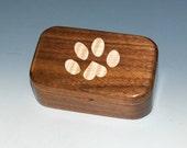 Paw Print Box -Curly Maple Inlay & Walnut - Dog Box, Paw Print Wood Box, Small Wood Box, Wooden Boxes, Box, Pet Box, Dog Box, Cat Box, Boxes