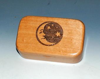 Laser Engraved Moon & Stars Alder Handmade Wooden Trinket Box - Jewelry Box, Small Jewelry Box- Small Wood Box, Wood Keepsake Box,Wood Boxes