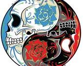 "Yin Yang Sugar Skull 4"" Vinyl Sticker"