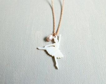 Ballerina Necklace. rose gold bllerina necklace. sea shell ballerin pendant with pearl necklace. ballet girl necklace. birthday gift