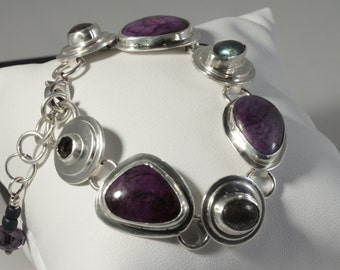 Sterling Silver Sugilite and Grey gemstone bracelet