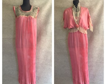 Vintage 30's Nightgown, Pink Silk Negligee and Bed Jacket, Lace and Fortuny Pleats, Women's Size Small to Medium