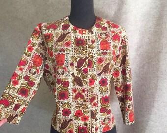 60's Vintage Jacket, Novelty Print, Cropped Red Medium to Jacket, Folk Art, Hearts, Birds, Flowers, Dolls, Cream, Olive Green, Cotton
