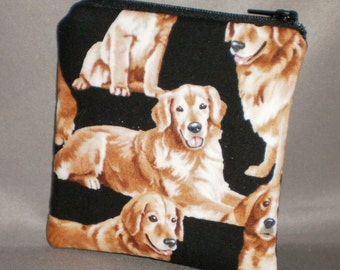 Coin Purse - Gift Card Holder - Card Case -Small Padded Zippered Pouch - Mini Wallet - Golden Retriever - Dog