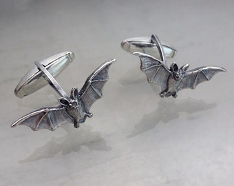Tiny Flying Bats Cuff Links by Carrie Nunes Jewelry