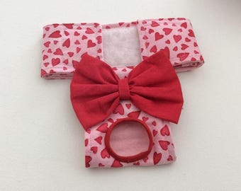 Female Dog Diaper - Britches - Dog Panty / Panties-Red Hearts on Pink - Available in all Sizes