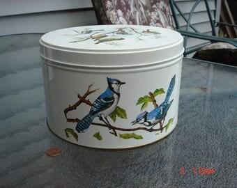 Vintage Large Round Bird Tin - Sweet