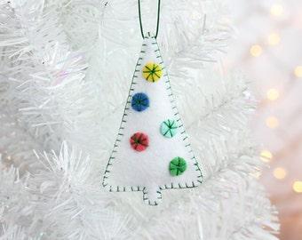 Christmas Tree Ornament, Handmade Christmas Ornament, Felt Ornament, Holiday Decoration, Hand-stitched, ready to ship, modern minimal