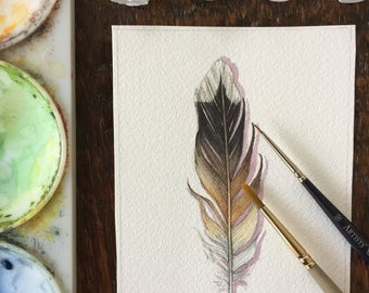 Killdeer feather - Original Watercolour feather study