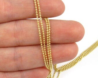 Gold plated Sterling Silver Bulk Chain, Unfinished Chains-1.2mm Ball Chain -25% OFF- WHOLESALE CHAINS-Discount Chains-50ft-Sku: 101050W vm
