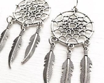 Silver Dreamcatcher Earrings / Boho Bohemian Lover Gypsy Style Tribal Southwest Bride Native American Desert Costume Burning Man Festival
