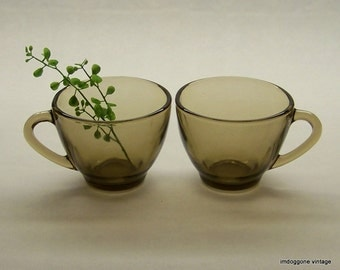 KIG Punch Cups, Tea Cups, Two Smoked Brown Glass Cups, Brown Punch Cups, KIG Indonesia Brown Tea Cups