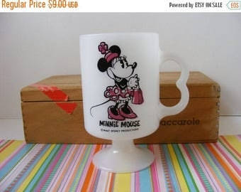 20% OFF MOVING SALE Vintage Minnie Mouse, Milk Glass Mug, Pedestal Base, Minnie Mouse Mug, Walt Disney Mug