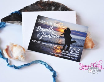 Sample - Custom Sunset Beach Themed Wedding Save the Date Card with your picture, envelope  and with optional magnet