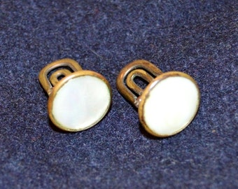 Vintage Antique Mother of Pearl CUFFLINKS  Classic Cuff Links  Antique Bronze