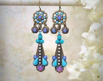 Evening Blue Micro Mosaic Earrings Dainty Rhinestone Earrings Aqua Turquoise Lavender Opal Royal Blue Micromosaic Earrings Beach Wedding