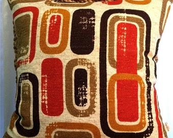 FAB SALE Mid-Century Geometric Danish Modern Pillow Cover -  60s/70s Mod BoHo - Russet Orange, Dk. Brown, Taupe