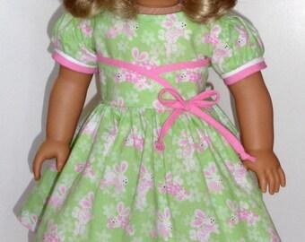 Bunny Print Dress For American Girl Dolls or Similar 18-Inch Dolls