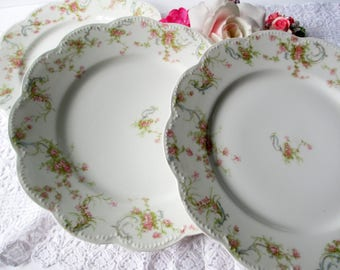 Vintage Haviland Limoges Pink Rose Luncheon Dinner Plates Set of Three - French Romantic