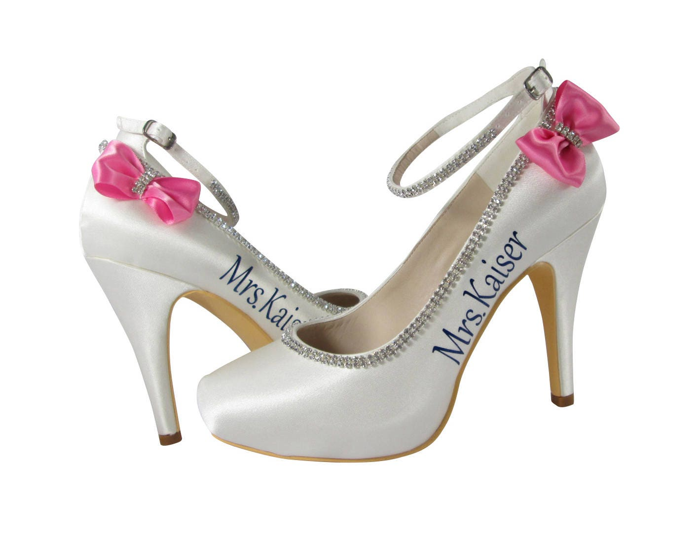 Wedding High Heels Ivory: Bridal Hot Pink & Navy On Ivory High Heel With Ankle Strap