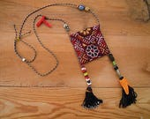 mini pouch necklace with tassels