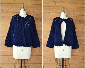 1960s sweet crocheted navy blue cardigan / puffy sweater / small medium