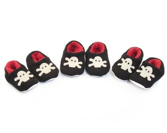 Cate and Levi Handmade Soft Pirate Baby Slippers (Premium Reclaimed Wool and Eco-Friendly Fleece)