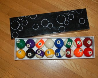 Vintage Pool Balls / Billiard Balls ~ Classic Stripes and Solid Colored Numbered ~ Full Set of 16 ~ White with Blue Spots Que Ball ~ 7+ lbs.