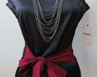 Black color tank top with built in red belt decoration plus made in USA (v95)