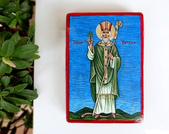 Saint Patrick original icon on wood St. Patricks Day, 6 x 4 inches, St Patrick with shamrock