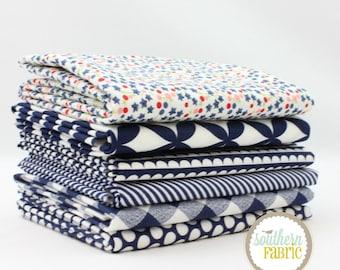 "Basics - Navy - Fat Quarter  Bundle - 6 - 18""x21"" Cuts - Bonnie and Camille - Moda Quilt Fabric"