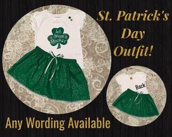 St. Patrick's Baby, First St. Patrick's, St. Patrick's outfit, 1st St. Patrick's day, Custest Shamrock