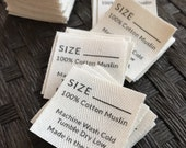 Twill, One and One-Half Inch Ribbon, Cut - Flat or Folded, CUSTOM Printed Sew-in Fabric Label (natural and white)