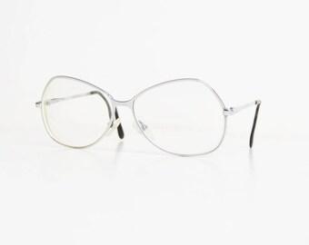 Vintage 60s 70s MOD Oversized Silver Eyeglasses Frames