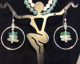 Sea glass bead stack sterling silver earrings