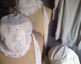 Antique Bonnets 3pc Victorian Head Dress White Cotton & Lace/19C French Headdress