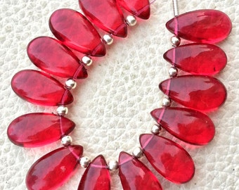 Brand New, 5 Matched Pairs, 15x7mm Long aprx., RUBY RED Quartz Smooth Pear Briolettes,Amazing Item at Low Price