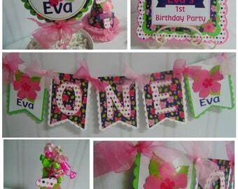 Luau  birthday petite party package ONE high chair banner birthday hat luau cake topper Smash Cake 1st birthday decorations luau