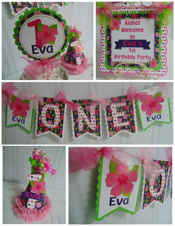 Luau Birthday Petite Party Package ONE High Chair Banner
