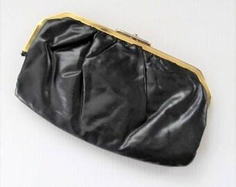 40% OFF SALE Vintage 1960's Black Clutch Purse / Vinyl Golden Closure Handbag